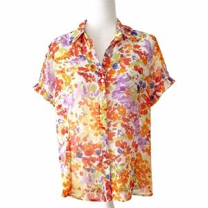 Apparenza  Bright Floral Blouse Sheer Petite Large